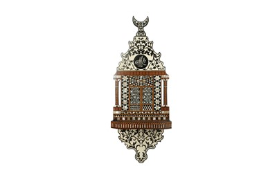 Lot 856-λ A MOTHER-OF-PEARL, EBONY AND COLOURED WOODS-INLAID HANGING TURBAN STAND
