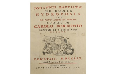 Lot 342 - Hydrology.- De bonis (Giovanni Battista)