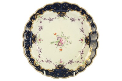Lot 16-An 18th century Worcester porcelain circular plate, circa. 1770