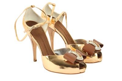 Lot 1281-Giuseppe Zanotti Bronze Embellished Sandal - Size 36