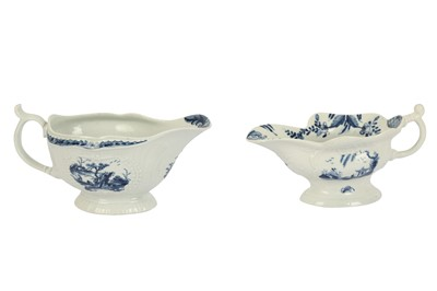Lot 18-An 18th century Worcester blue and white sauce boat, circa. 1760