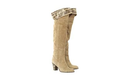Lot 1257-Dior Beige Cowboy Boots - Size 36.5