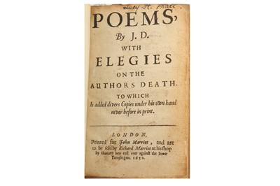 Lot 395-Donne (John) Poems, by J.D. with Elegies on the Author's Death.