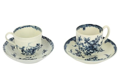 Lot 20-An 18th century Worcester porcelain blue and white cup and saucer, circa. 1765