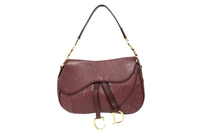 Lot 57 - Christian Dior Aubergine Ostrich Double Saddle Bag