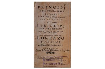 Lot 383 - Vico (Giambattista)  Principj di una scienza nuova