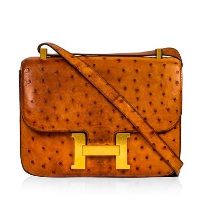 Lot 1239-Hermes Cognac Ostrich Constance 23
