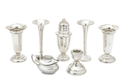 Lot 18-A mixed group of sterling silver including an Edwardian pair of posy vases, Birmingham 1909 by Deakin and Francis
