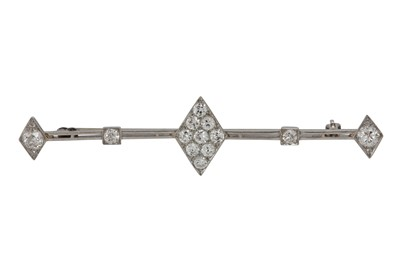 Lot 1203-A diamond bar brooch, first half of the 20th century