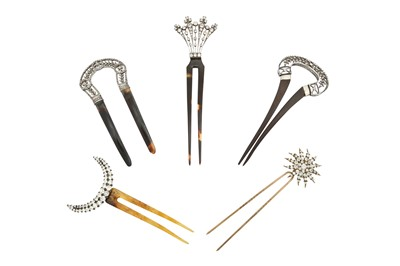 Lot 1202-λ A collection of paste hairpins, circa 1900-1950