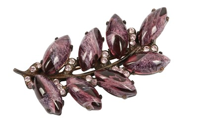 Lot 1231-Dolce and Gabbana Amethyst Leaf Brooch