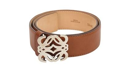 Lot 1254-Loewe Brown Anagram Buckle Belt - Size 80