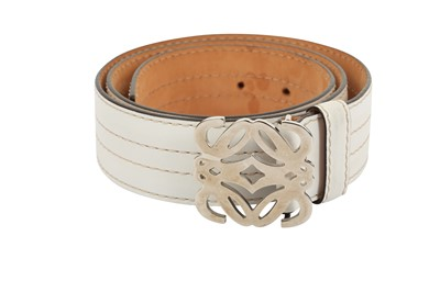 Lot 1204-Loewe White Anagram Buckle Belt - Size 85
