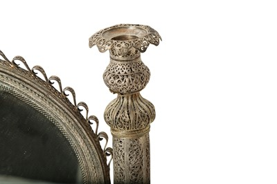 Lot 835-A SILVER FILIGREE MIRROR STAND WITH CANDLESTICKS MADE FOR THE EUROPEAN MARKET