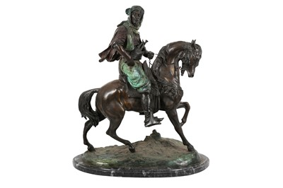 Lot 859-A LARGE LATE 19TH / EARLY 20TH CENTURY PATINATED BRONZE ORIENTALIST FIGURE OF AN ARAB RIDER