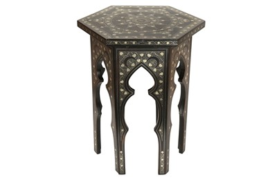Lot 840-AN OTTOMAN SILVER-WIRE-INLAID WOODEN OCCASIONAL LOW TABLE WITH TUGHRA