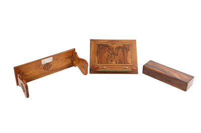Lot 879-THREE CARVED OLIVE WOOD BIBLIOPHILE COLLECTABLES