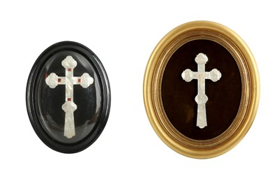 Lot 881-λ TWO MOTHER-OF-PEARL-INLAID CRUCIFIXES