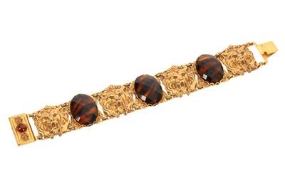 Lot 1278-Askew Tigers Eye Scarab Bracelet