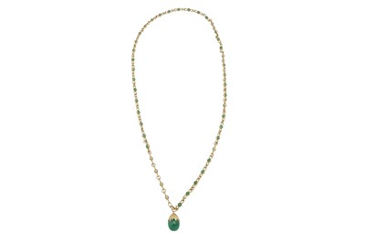 Lot 1235-A gold and aventurine quartz pendant necklace, 1997