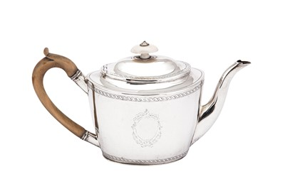 Lot 7-A George III sterling silver teapot, London 1799 by John Merry