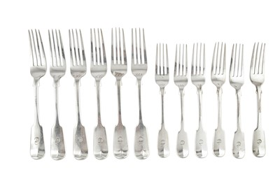 Lot 70-A set of six Victorian sterling silver table forks and dessert forks, London 1838/39 by Charles Lias