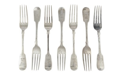 Lot 69-A set of six Victorian sterling silver table forks, London 1838 by William Eaton