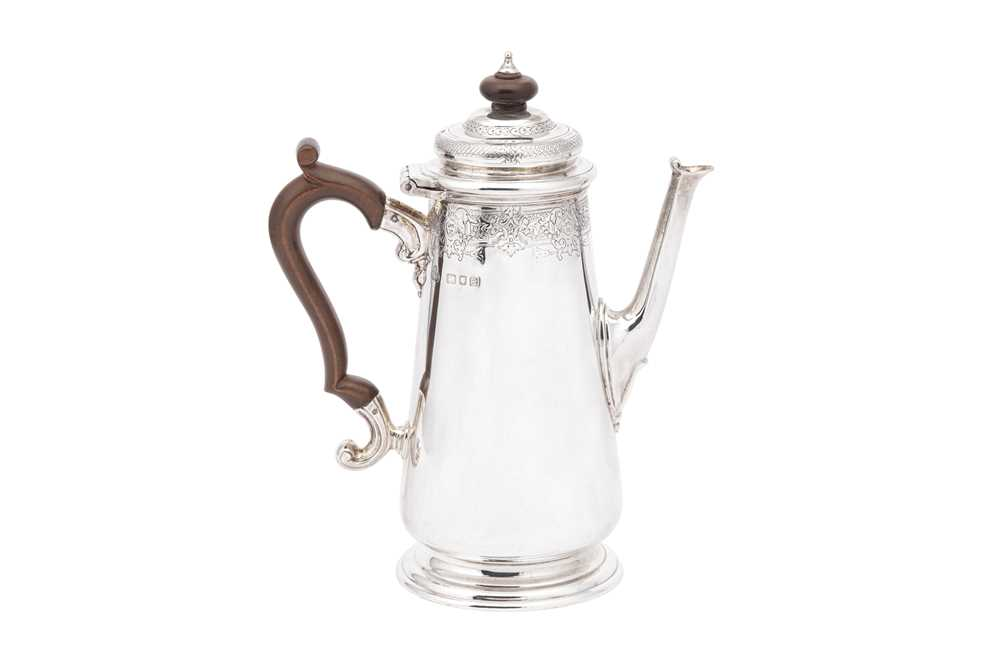 Lot 6-A George VI sterling silver coffee pot, London 1937 by S. J. Phillips