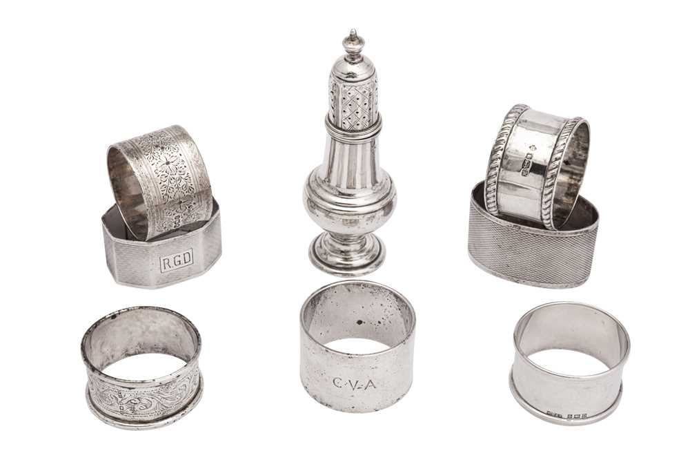 Lot 25-A mixed group of sterling silver napkin rings