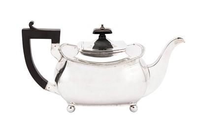 Lot 2-A George V sterling silver teapot, Birmingham 1927 by S Blanckensee & Son Ltd