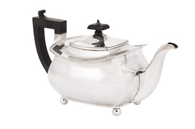 Lot 2-A George V sterling silver teapot, Birmingham 1927 by S Blanckensee & Son Ltd