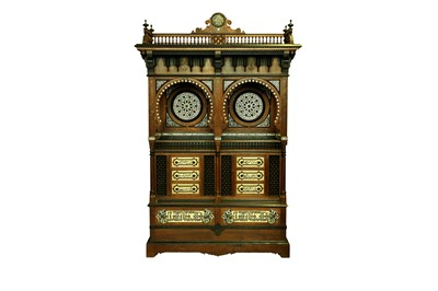 Lot 857-λ A HARDWOOD BONE, RESIN AND MOTHER-OF-PEARL-INLAID ORIENTALIST CABINET BY GIUSEPPE PARVIS