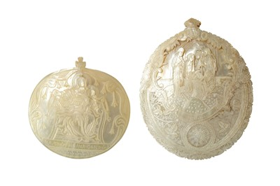 Lot 889-λ TWO CARVED MOTHER-OF-PEARL SHELL PLAQUES WITH CHRISTIAN SCENES