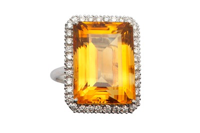 Lot 1219-A citrine and diamond cluster ring