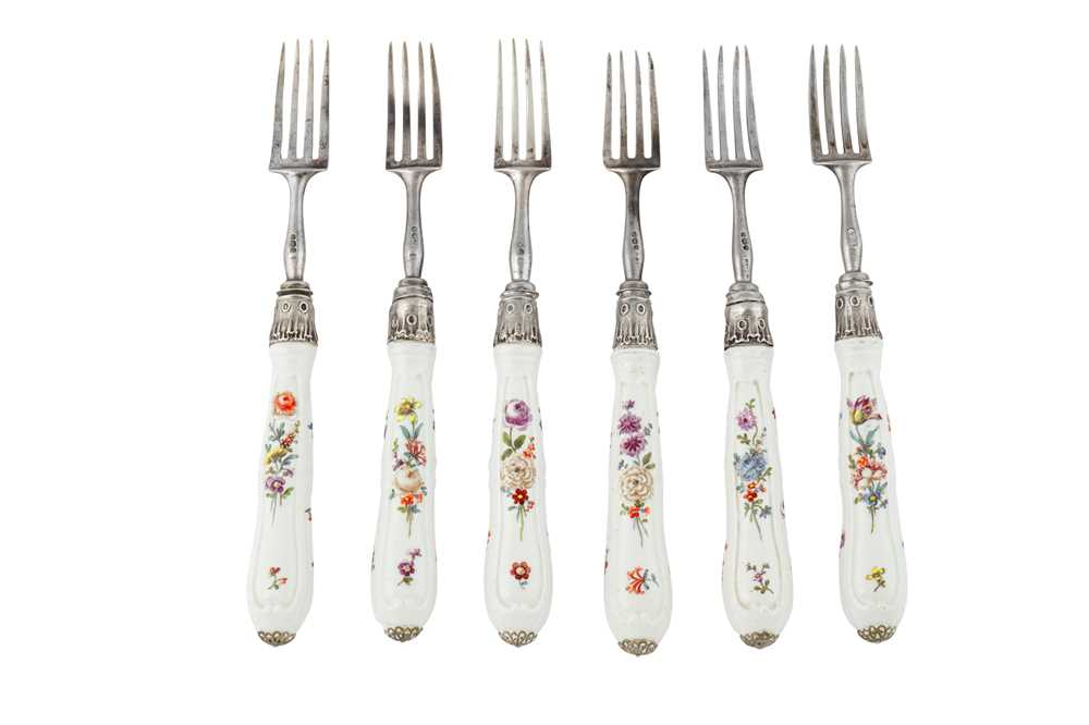 A set of six George III sterling silver and German porcelain fruit forks...