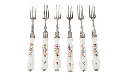 Lot 88-A set of six George III sterling silver and German porcelain fruit forks, London 1818 by Robert Peppin