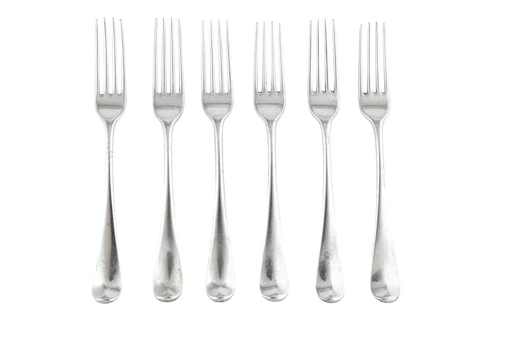 A set of six George III sterling silver table forks, London 1780 by George...