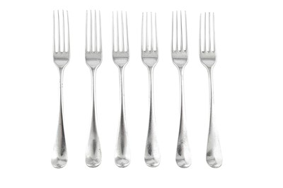Lot 71-A set of six George III sterling silver table forks, London 1780 by George Smith