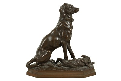 Lot 57 - ALFRED BARYE (FRENCH, 1839-1882): A BRONZE MODEL OF A HUNTING DOG