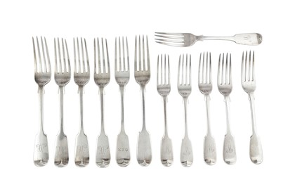 Lot 57-A mixed group of sterling silver Fiddle pattern table forks and dessert forks