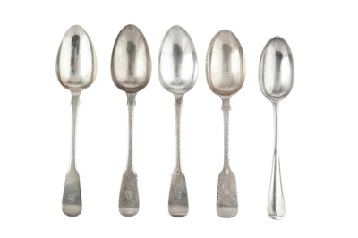 Lot 54-Mixed group - A pair of George IV sterling silver tablespoons, London 1823 by William Chawner