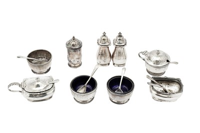 Lot 23-A George V sterling silver Art Deco cruet set, Sheffield 1925 by Richard Richardson