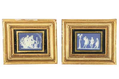 Lot 33-A pair of Jasperware blue and white rectangular plaques, in the Wedgwood style