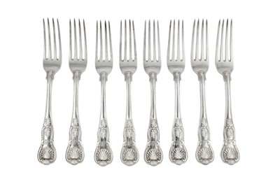 Lot 68-A set of eight George IV sterling silver table forks, London 1827 by William Eaton