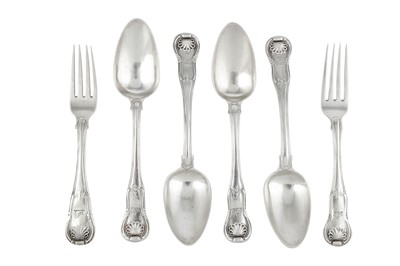 Lot 78-A set of four George III Irish sterling silver dessert spoons, Dublin 1818 by Isaac Solomon of Cork