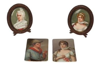 Lot 44-A pair of 19th century German porcelain rectangular plaques