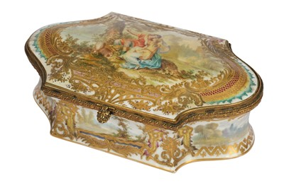 Lot 35-A late 19th/early 20th French porcelain shaped box, in the Sevres style