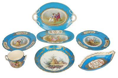 Lot 37-A pair of late 19th/early 20th century Sevres style porcelain plates