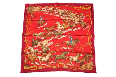 Lot 1218-Hermes 'Les Mustangs' Silk Scarf