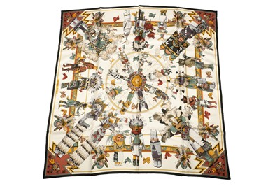 Lot 1210-Hermes 'Kachinas' Silk Scarf